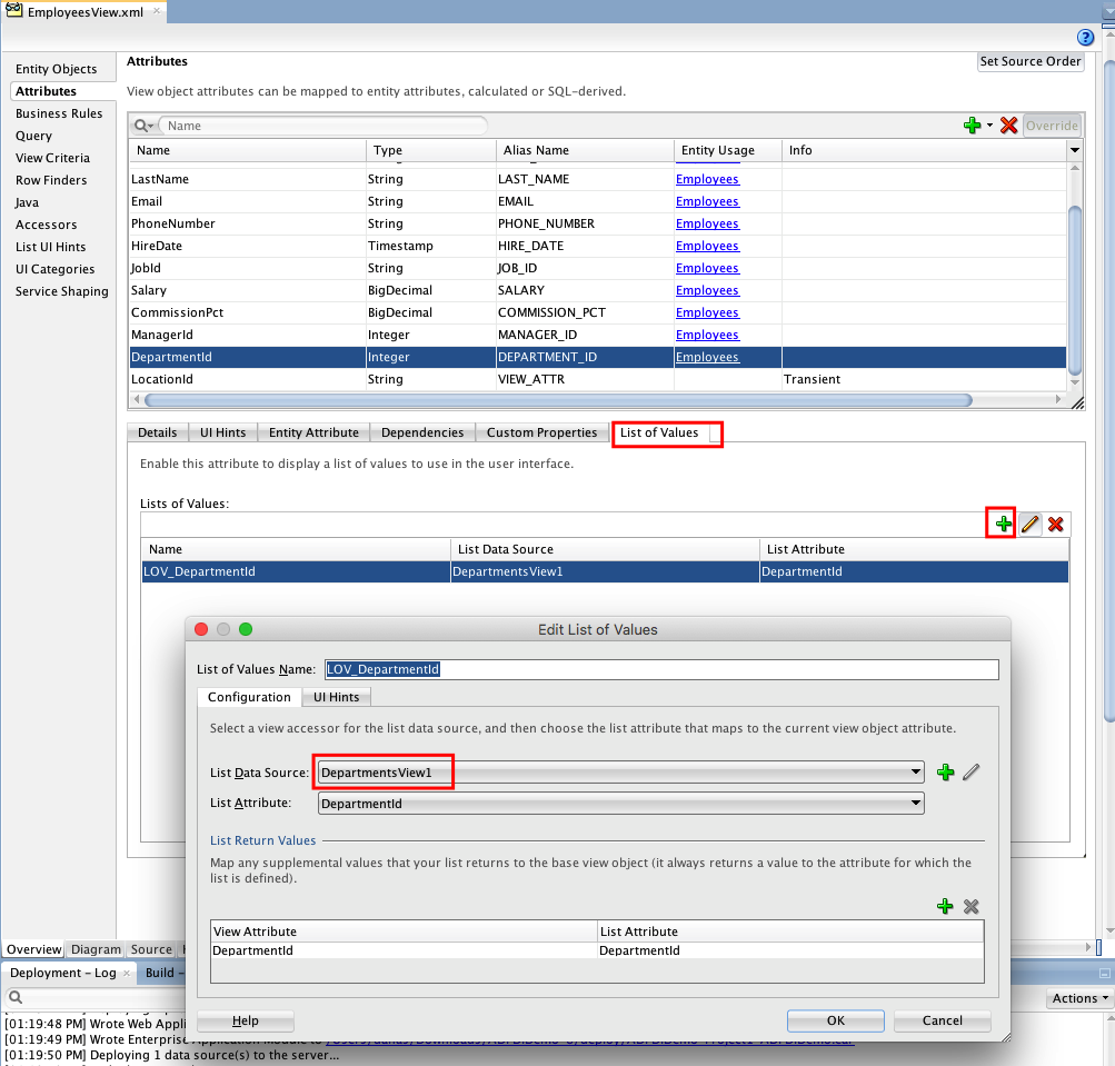 Depended List Of Values (LOV) In ADF Desktop Integration